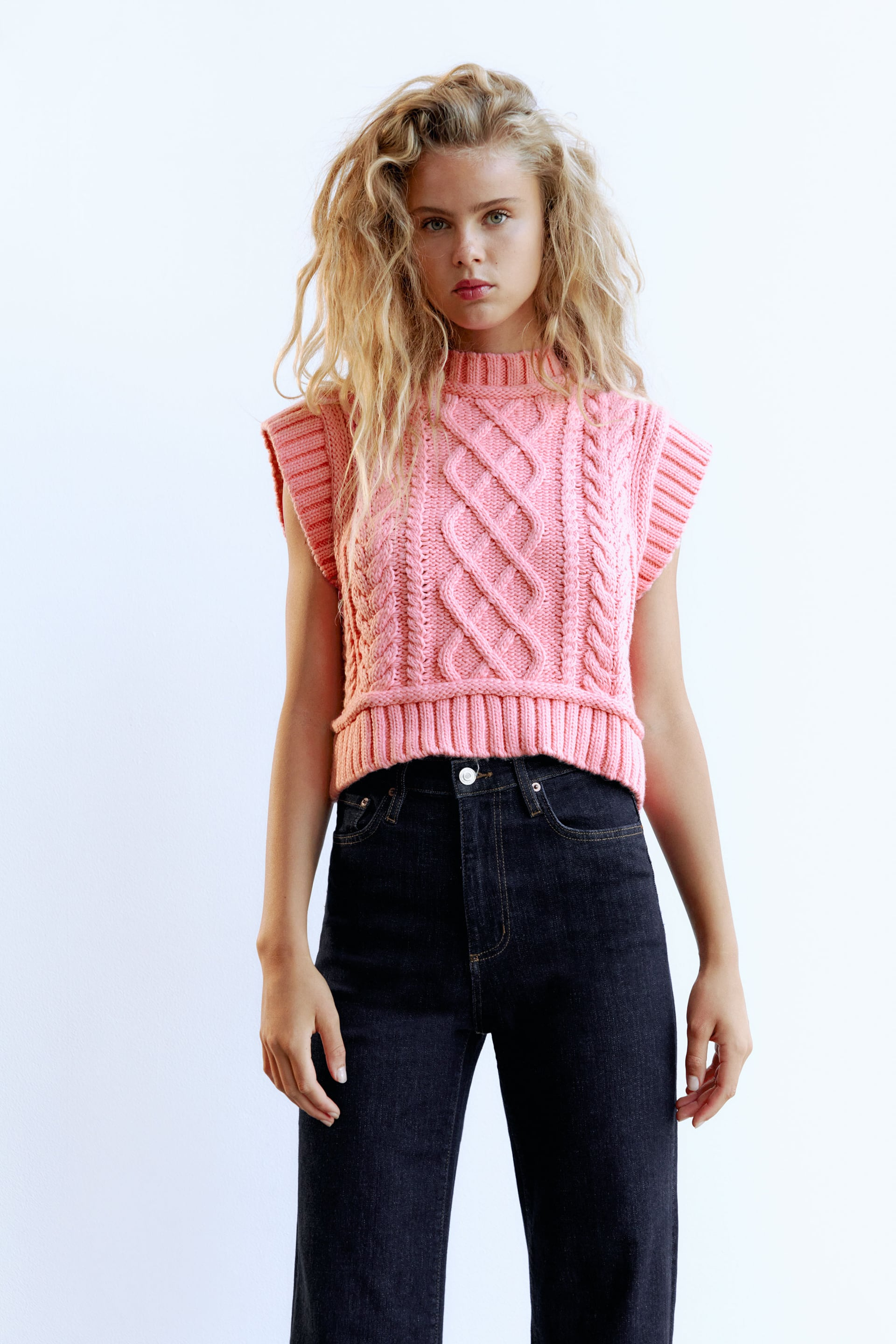 Pink Cable-Knit Vest – Zara - £25.99