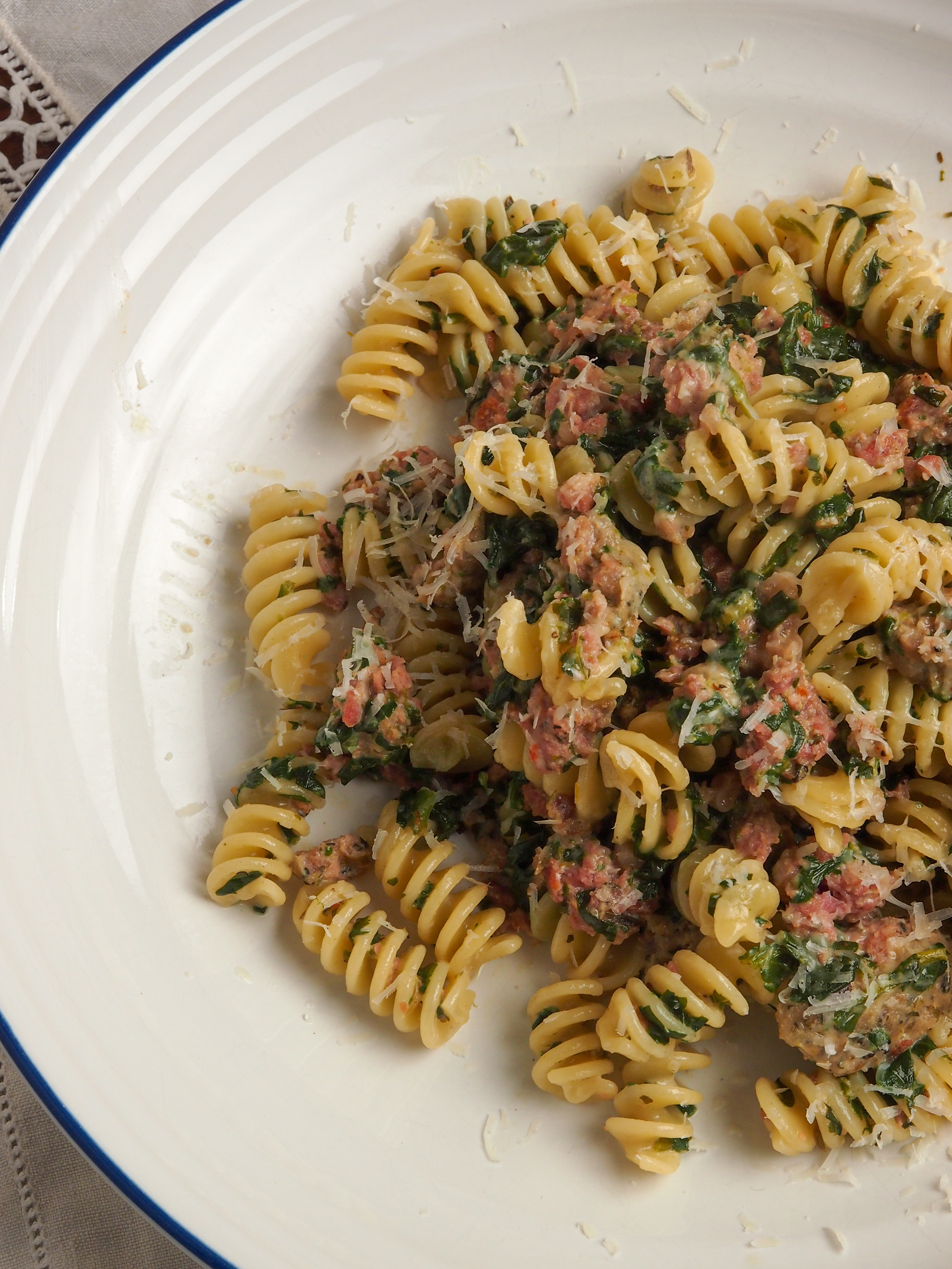 Mid-Week Meal: Sausage Pasta with Spinach