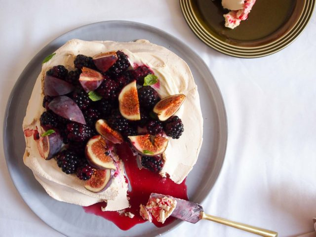 Blackberry and Fig Pavlova with Tahini Cream