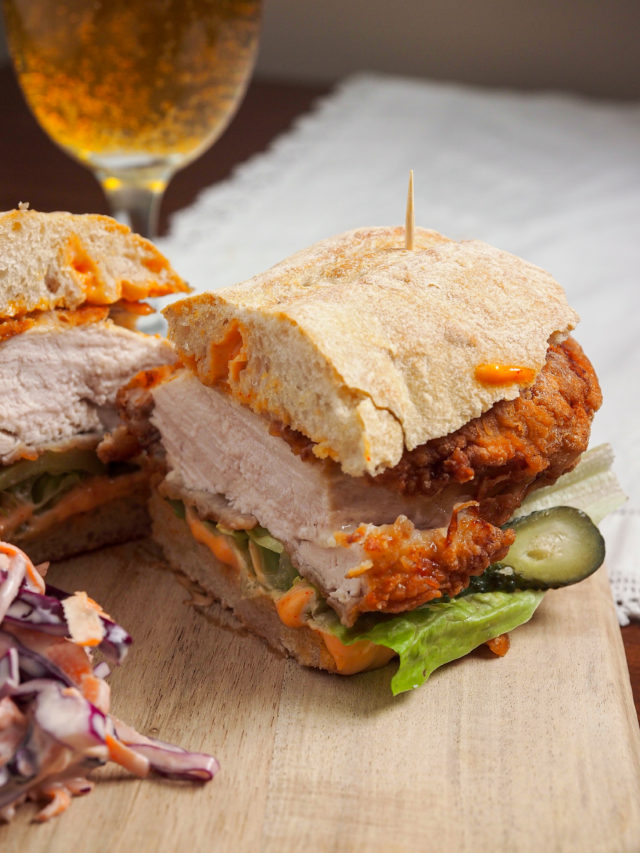 Chicken burger with homemade coleslaw