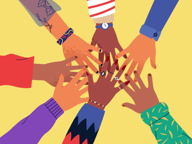 Diverse friend people hands doing high five